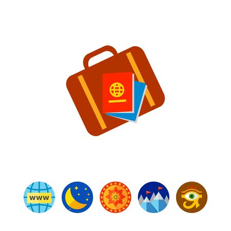 Travel suitcase and passports