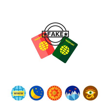 Two Fake Passports Icon