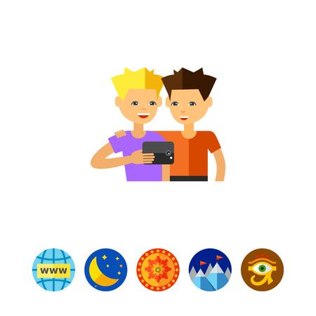 Two Guys Taking Selfie Photo Icon