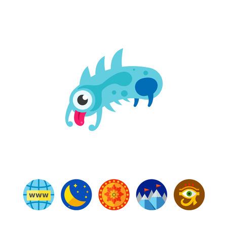 bacteria cartoon: Virus Cartoon Character Icon 5 Illustration