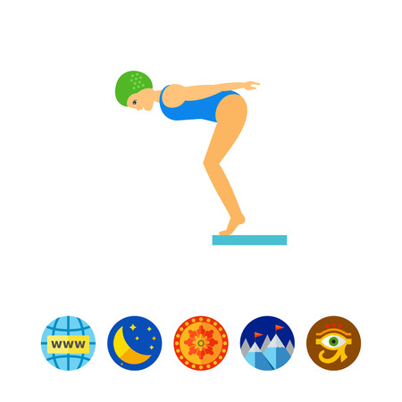 diving board: Water Jumping Icon Illustration
