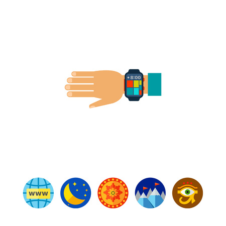 Wearable Smartwatch on Hand Icon