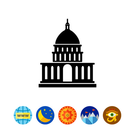 White House simple icon Illustration