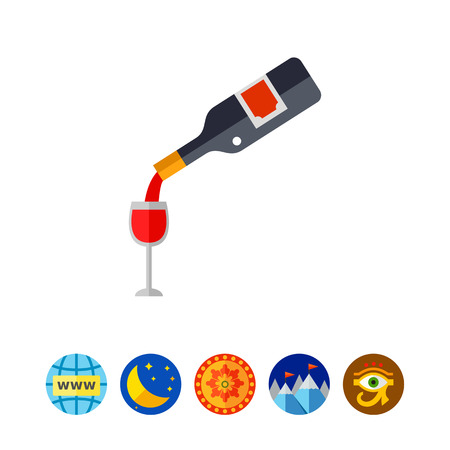 Wine Pouring from Bottle into Glass Icon