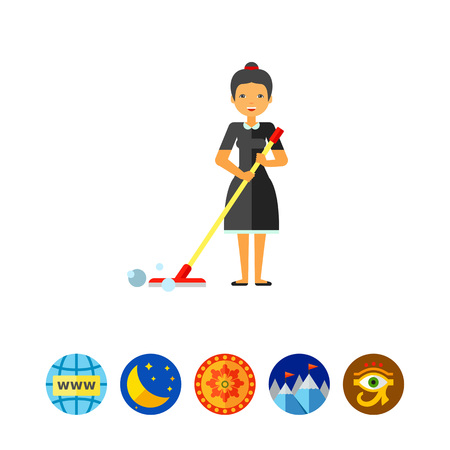 cleanliness: Woman Cleaning Floor with Mop Icon