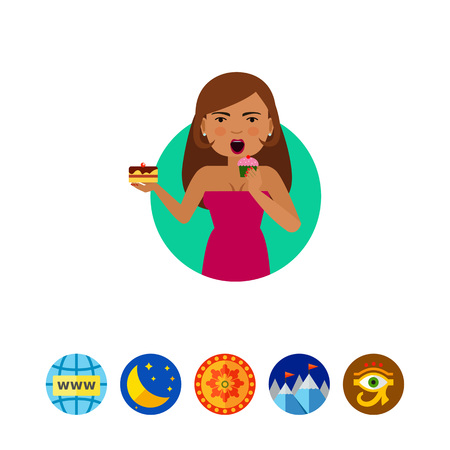 cupcakes isolated: Woman eating cupcake Illustration