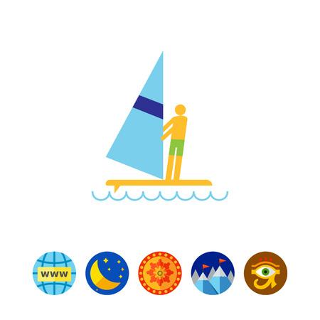 water wave: Windsurfing Illustration