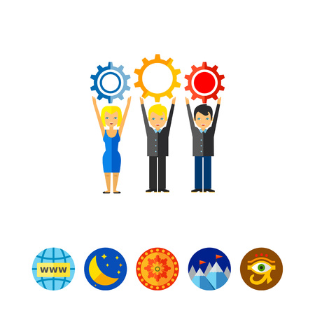 manpower: Workforce Concept Icon with Three People Illustration