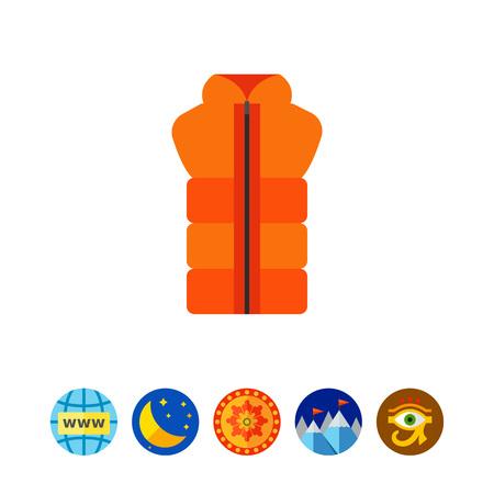 Oranje vest met rits pictogram Stock Illustratie