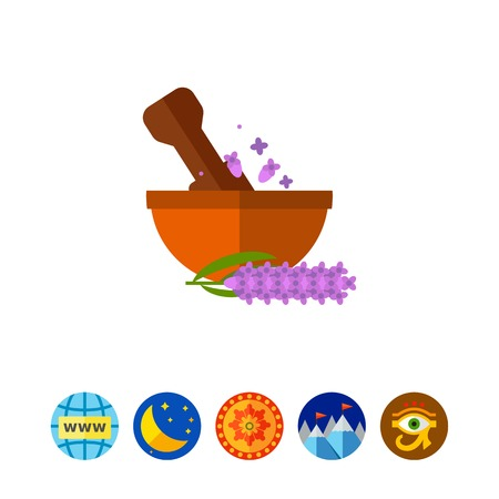 Pestle grinding flowers in mortar icon Illustration
