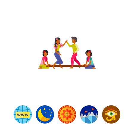 perform: Philippines people dancing tinikling icon Illustration