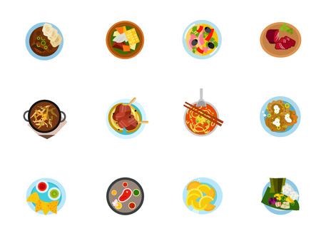 Jeu d'icônes de cuisine ethnique Vecteurs
