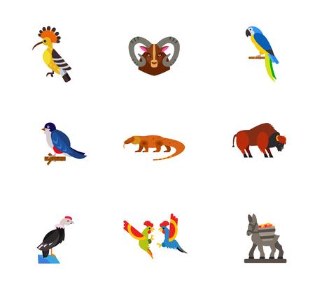 andean condor: Birds and animals icon set