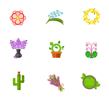 heather: Flower concept icon set Illustration