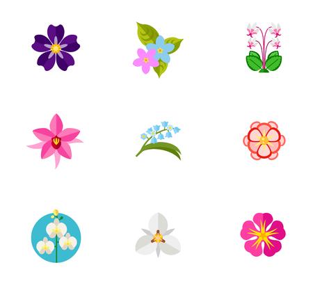 Flower symbols icon set Illustration