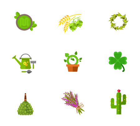 heather: Gardening and herbs icon set