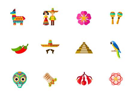 Mexico icon set Illustration