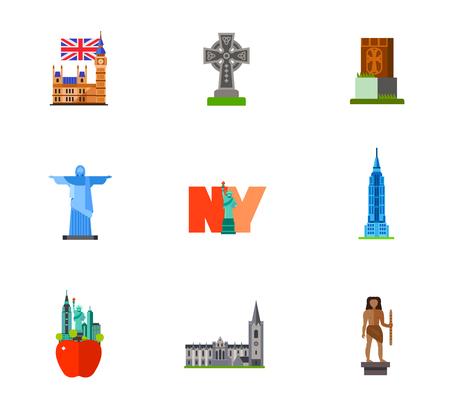 Famous places icon set Illustration