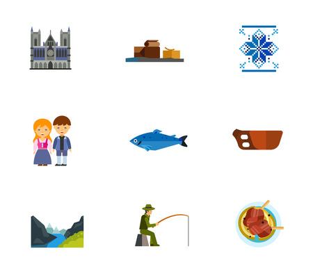 Norway icon set Иллюстрация