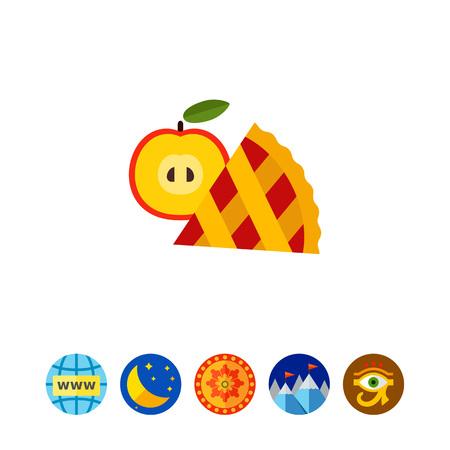 Apfelkuchen Scheibe mit Obst-Symbol