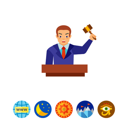 Auctioneer holding gavel vector icon