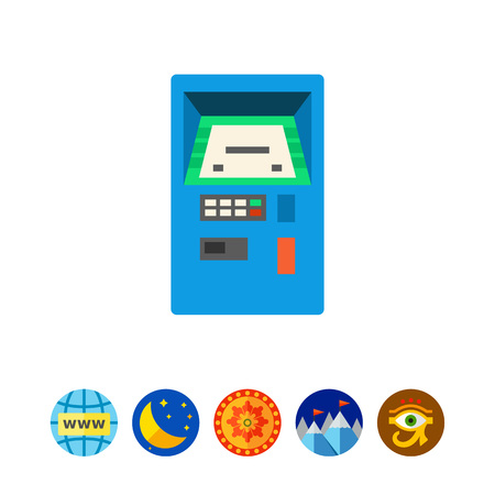 automated: Automated teller machine vector icon Illustration