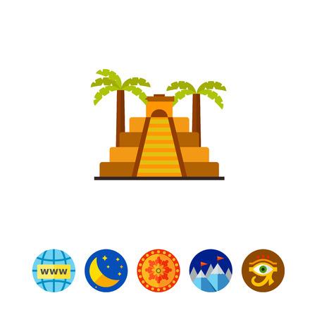 Aztec pyramid vector icon Illustration
