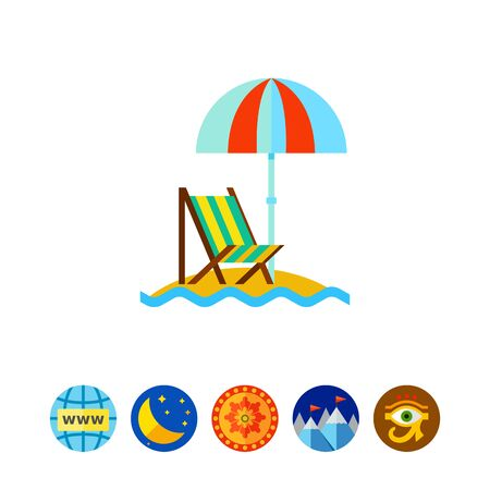 recliner: Beach umbrella and lounge chair icon