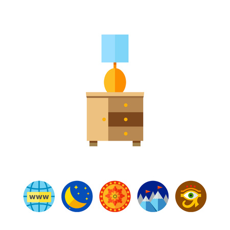 Bedside Table with Night Lamp Icon Illustration