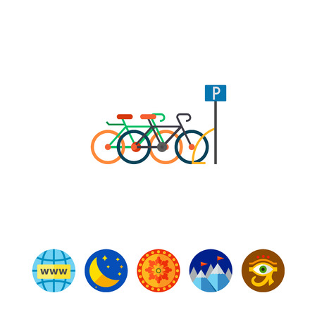 renting: Bicycle parking icon Illustration
