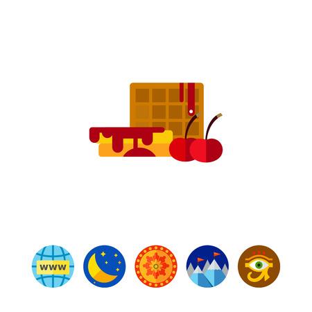 Belgian waffle with cherry syrup icon Illustration