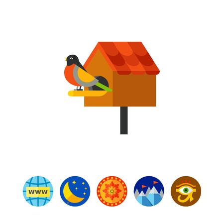 Bird sitting at nest box icon