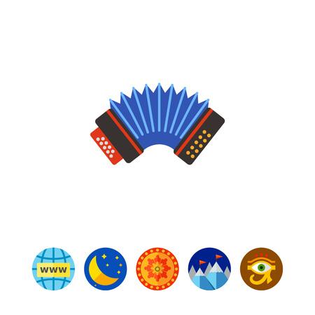 concertina: Blue accordion vector icon