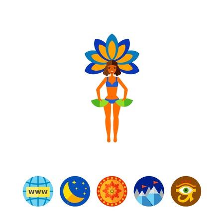 Brazil carnival performer icon Illustration