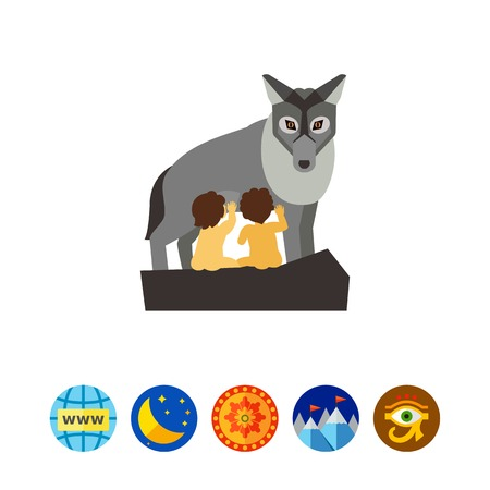 Capitoline wolf with children vector icon