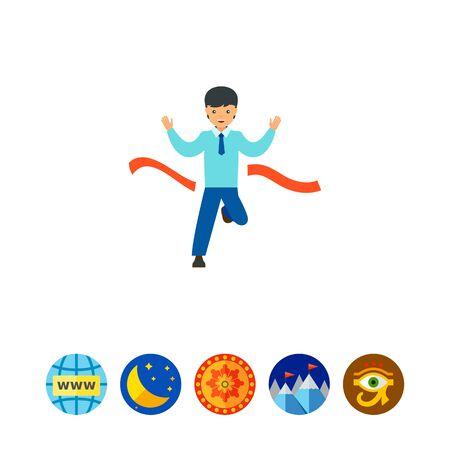 Businessman crossing finish line icon Illustration