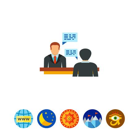 debating: Candidate having job interview icon Illustration