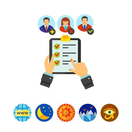 Kandidatenqualifizierungsanalyse-Symbol Vektorgrafik