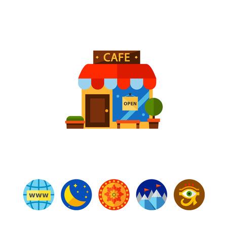 Cafe Building Vector Icon