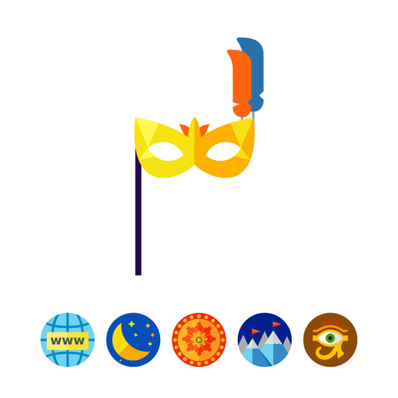 europe closeup: Carnival Mask with Handle Icon
