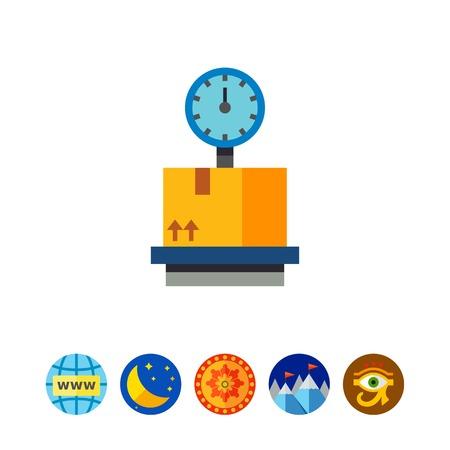 Cardboard box on storage scales icon Illustration