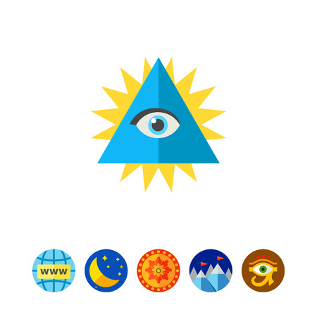 third eye: Chakra with eye in shining triangle icon Illustration