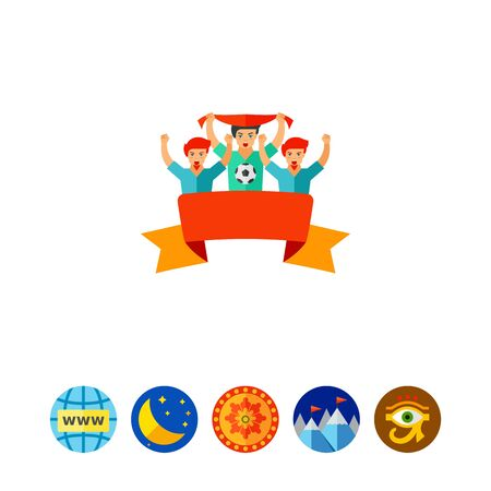 Cheering sport fans vector icon Illustration