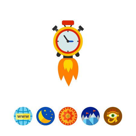 Clock Rocket Ikonen Standard-Bild - 81243841