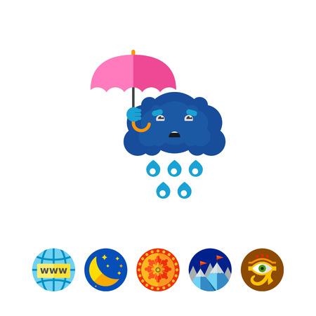 Cloud and Umbrella Vector Icon Illustration
