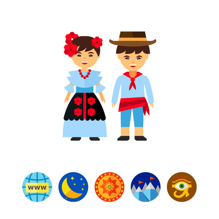 Colombians in national dress icon