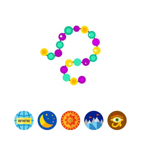 orleans symbol: Colorful Mardi Gras beads icon Illustration