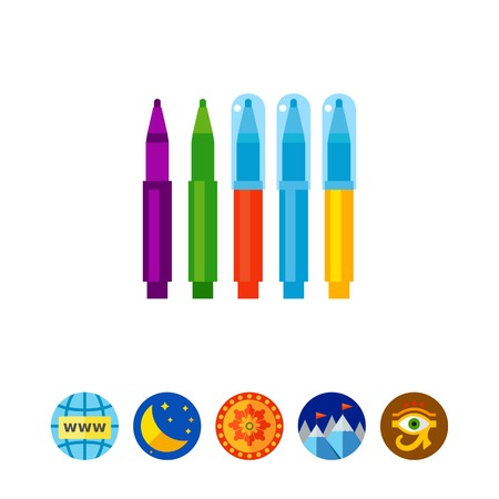 Colorful markers vector icon Illustration
