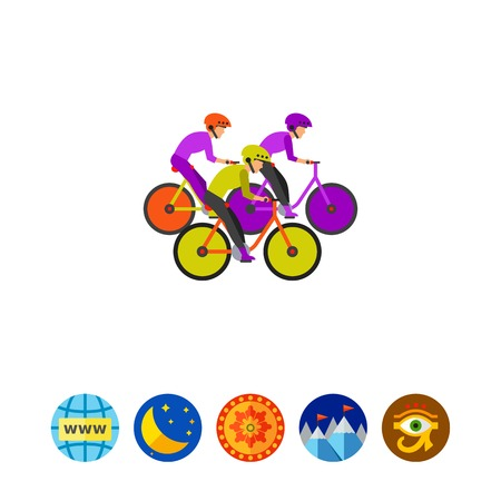 competitor: Vector icon of group of competitors riding bicycles. Bicycle racing, bicycle marathon, contest. Competition concept. Can be used for topics like sport, healthy lifestyle, cycling