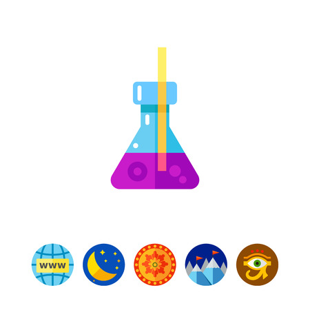 Multicolored vector icon of Erlenmeyer flask and red straw